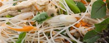 Fuelling Thai basil chinked with rice noodles